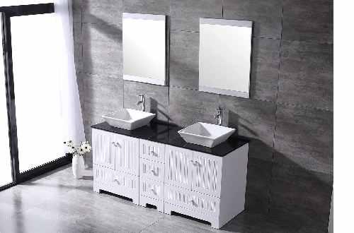 white Double bathroom vanity